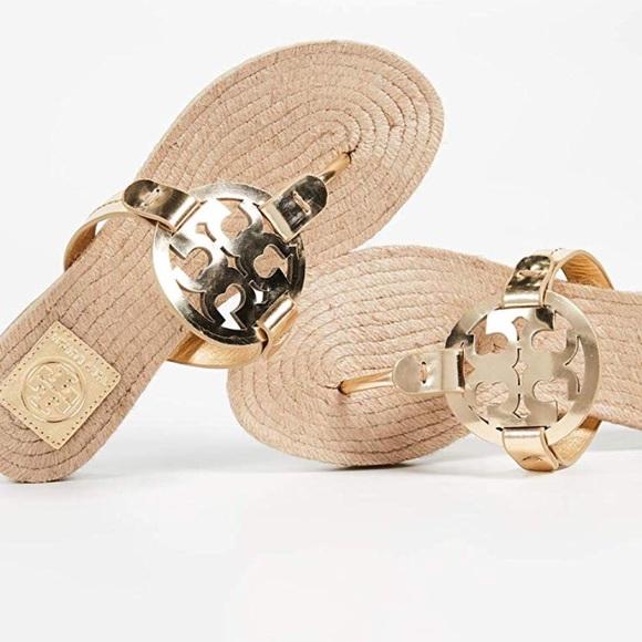 da3c44ed20c1 Tory Burch Miller Thong Espadrille Sandals in Gold.  M 5b9206812aa96a656a002f05